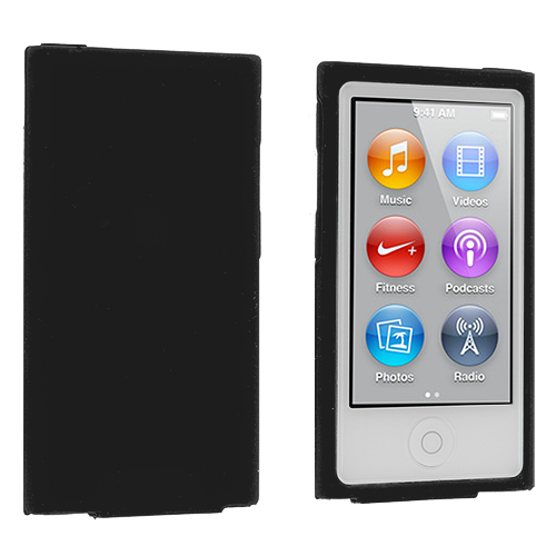 Apple iPod Nano 7th Generation Black Silicone Soft Skin Case Cover