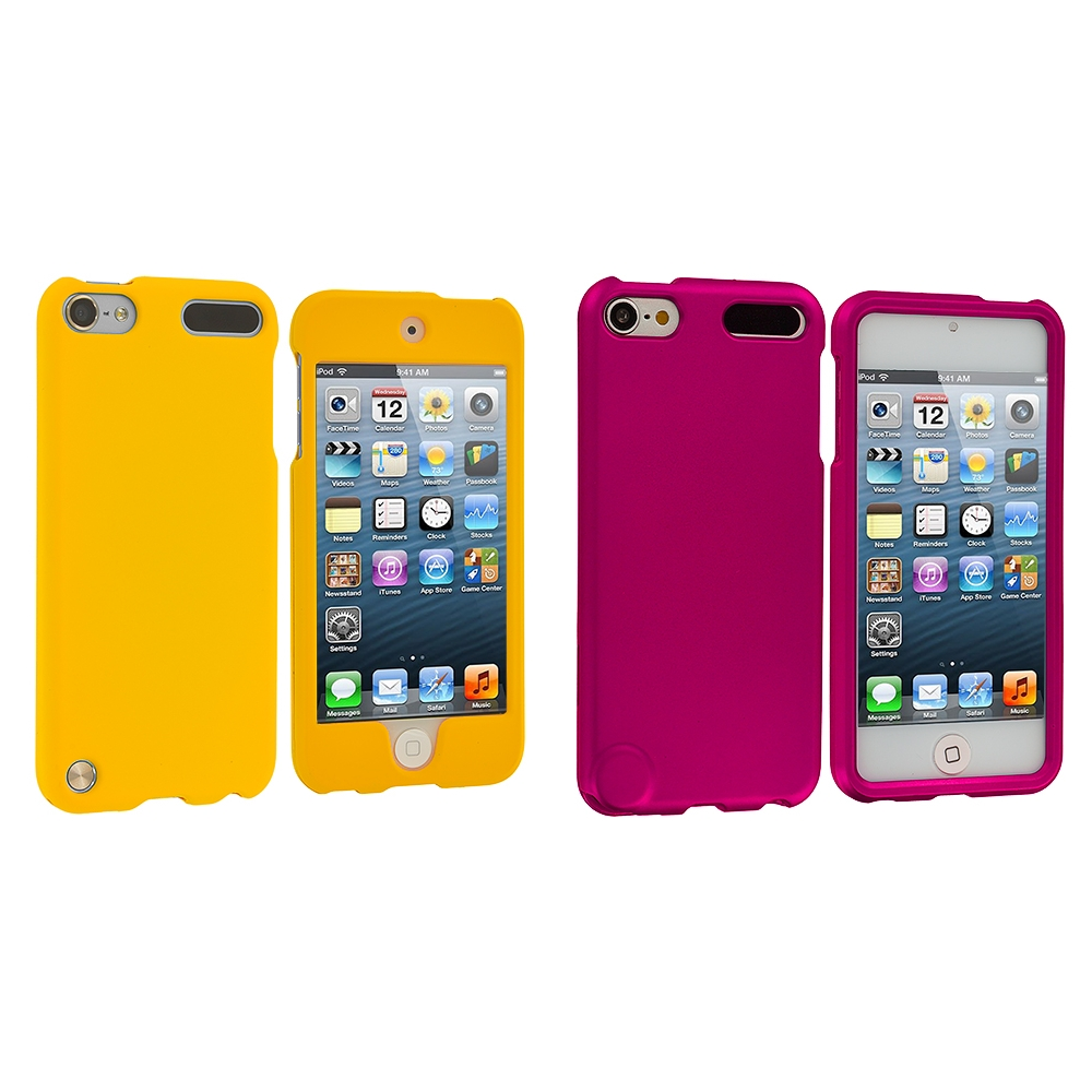 Apple iPod Touch 5th 6th Generation 2 in 1 Combo Bundle Pack - Yellow Pink (Covered) Hard Rubberized Case Cover