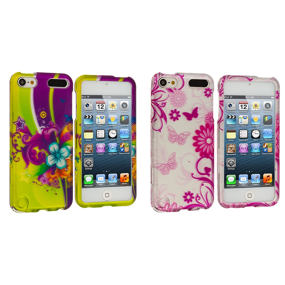 Apple iPod Touch 5th 6th Generation 2 in 1 Combo Bundle Pack - Love Flower Hard Rubberized Design Case Cover