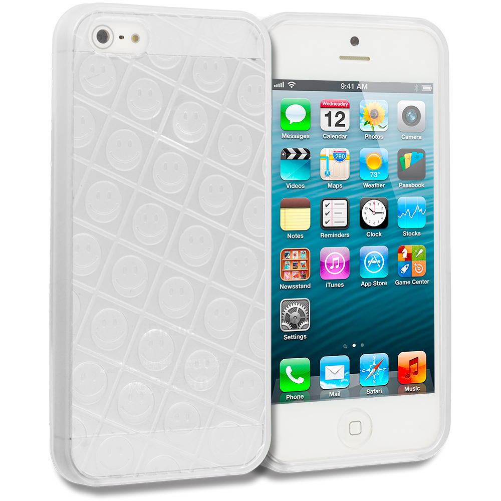 Apple iPhone 5 Combo Pack : Blue Happy Face TPU Rubber Skin Case Cover : Color Clear Happy Face