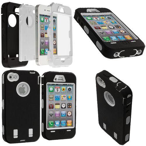 Apple iPhone 4 / 4S Black / White + Protector Hybrid Deluxe Hard/Soft Case Cover
