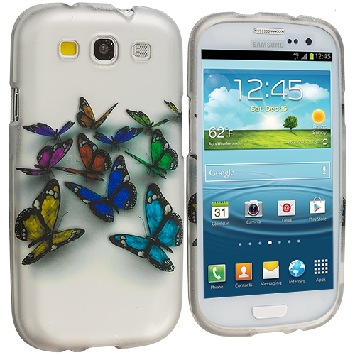 Samsung Galaxy S3 Butterfly Hard Rubberized Design Case Cover