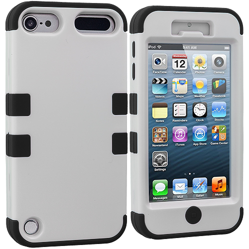 Apple iPod Touch 5th 6th Generation Black / White Hybrid Tuff Hard/Soft 3-Piece Case Cover