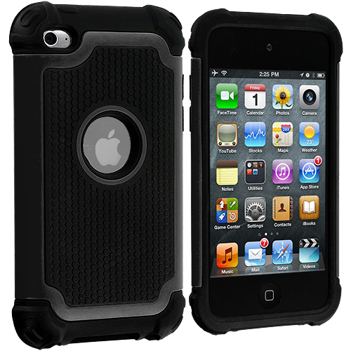 Apple iPod Touch 4th Generation Black Hybrid Rugged Hard/Soft Case Cover