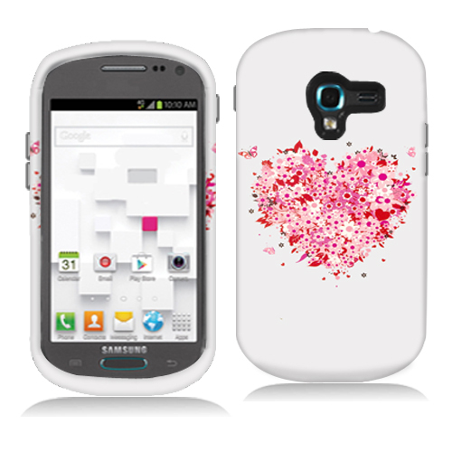 Samsung Galaxy Exhibit T599 Hearts Full of Flowers Hard Rubberized Design Case Cover