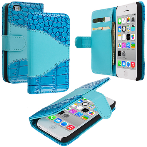Apple iPhone 5C Baby Blue Crocodile Leather Wallet Pouch Case Cover with Slots