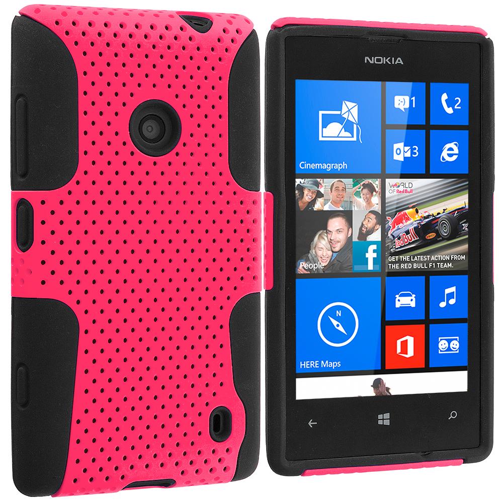 Nokia Lumia 520 Black / Hot Pink Hybrid Mesh Hard/Soft Case Cover