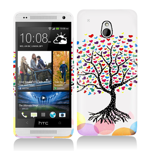 HTC One Mini Love Tree on White Hard Rubberized Design Case Cover
