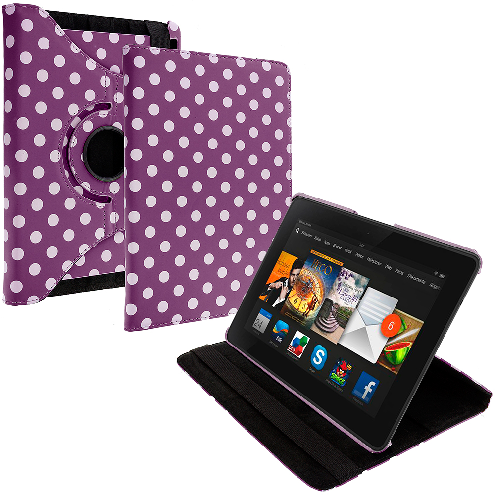 Amazon Kindle Fire HDX 7 Purple White Polka Dot 360 Rotating Leather Pouch Case Cover Stand