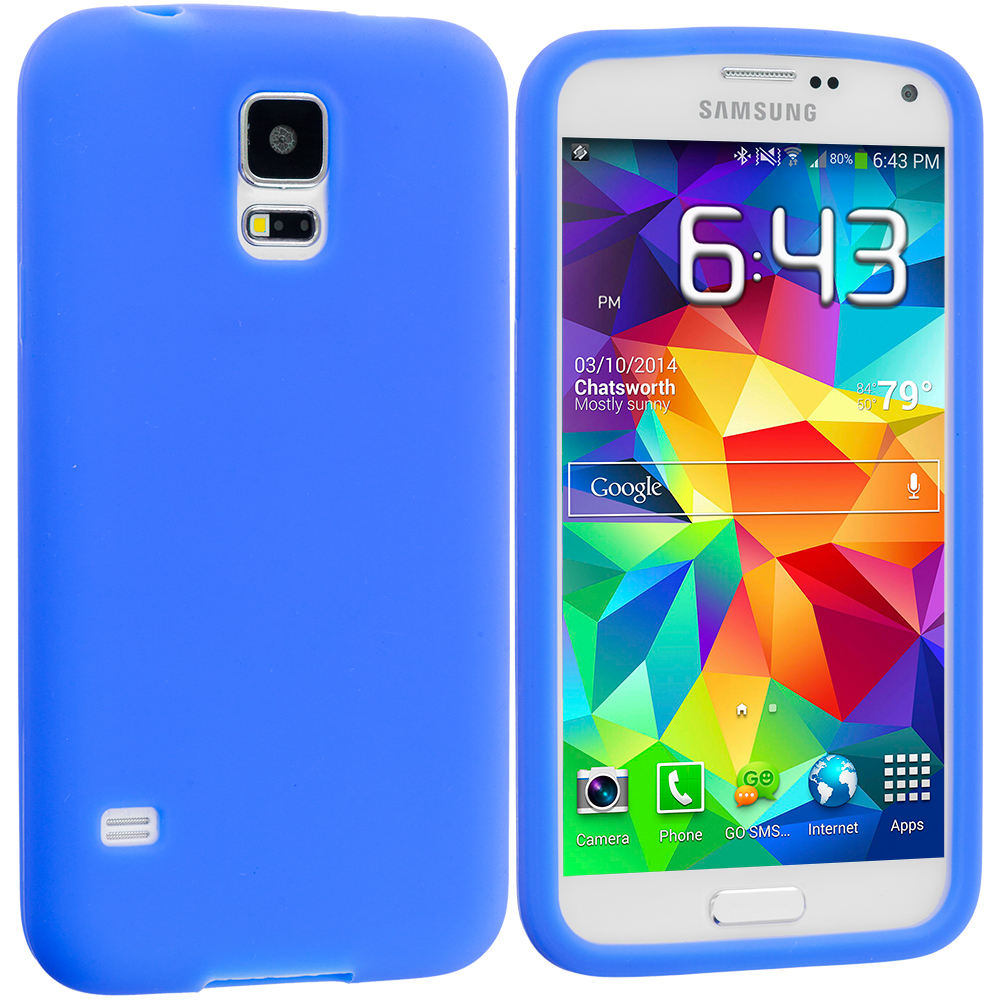 Samsung Galaxy S5 2 in 1 Combo Bundle Pack - White Blue Silicone Soft Skin Case Cover : Color Blue