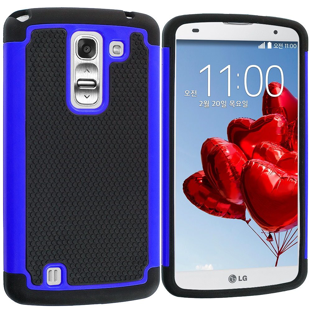LG G Pro 2 Black / Blue Hybrid Rugged Hard/Soft Case Cover