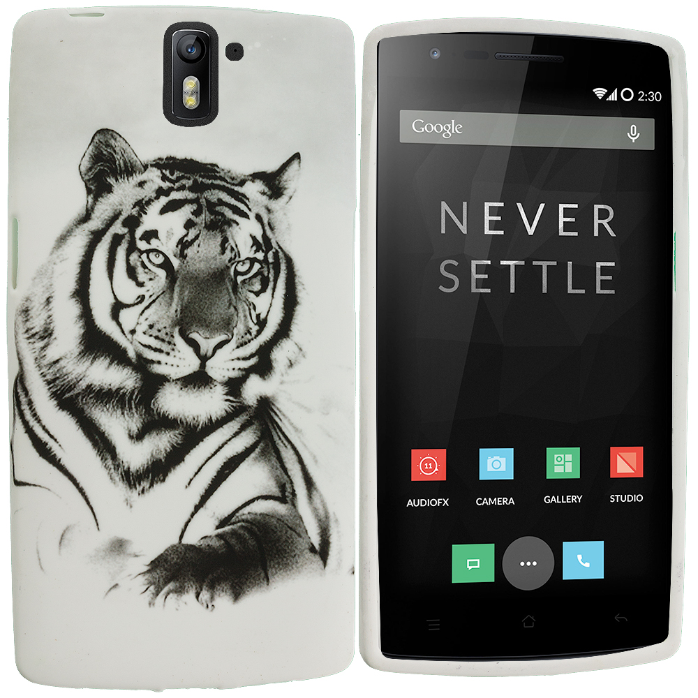 OnePlus One White Tiger TPU Design Soft Rubber Case Cover