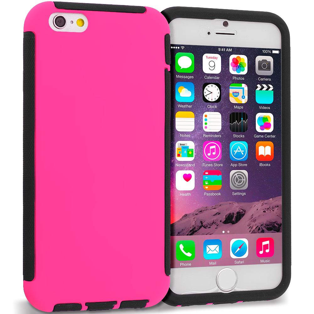 Apple iPhone 6 Plus 6S Plus (5.5) 6 in 1 Combo Bundle Pack - Hybrid Hard TPU Shockproof Case Cover With Built in Screen Protector : Color Black / Hot Pink