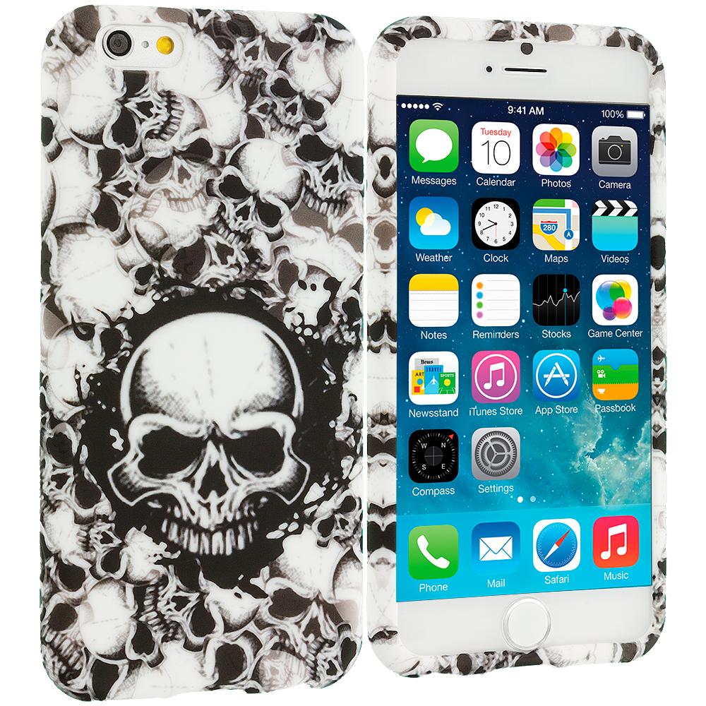 Apple iPhone 6 Plus 6S Plus (5.5) Black White Skulls TPU Design Soft Rubber Case Cover