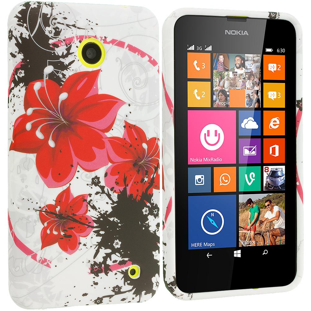 Nokia Lumia 630 635 Red Flower TPU Design Soft Rubber Case Cover