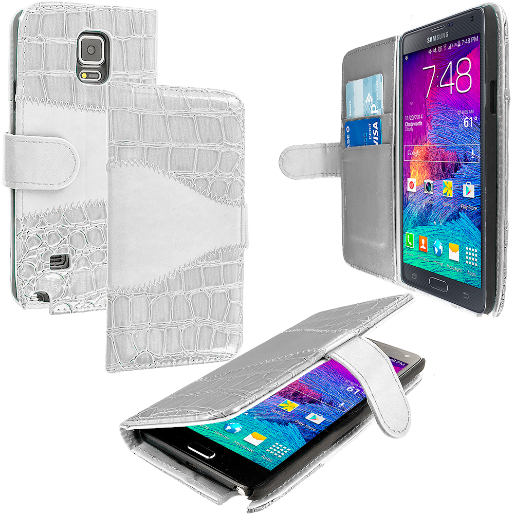 Samsung Galaxy Note 4 2 in 1 Combo Bundle Pack - Hot Pink White Crocodile Wallet Pouch Case with Slots : Color White Crocodile