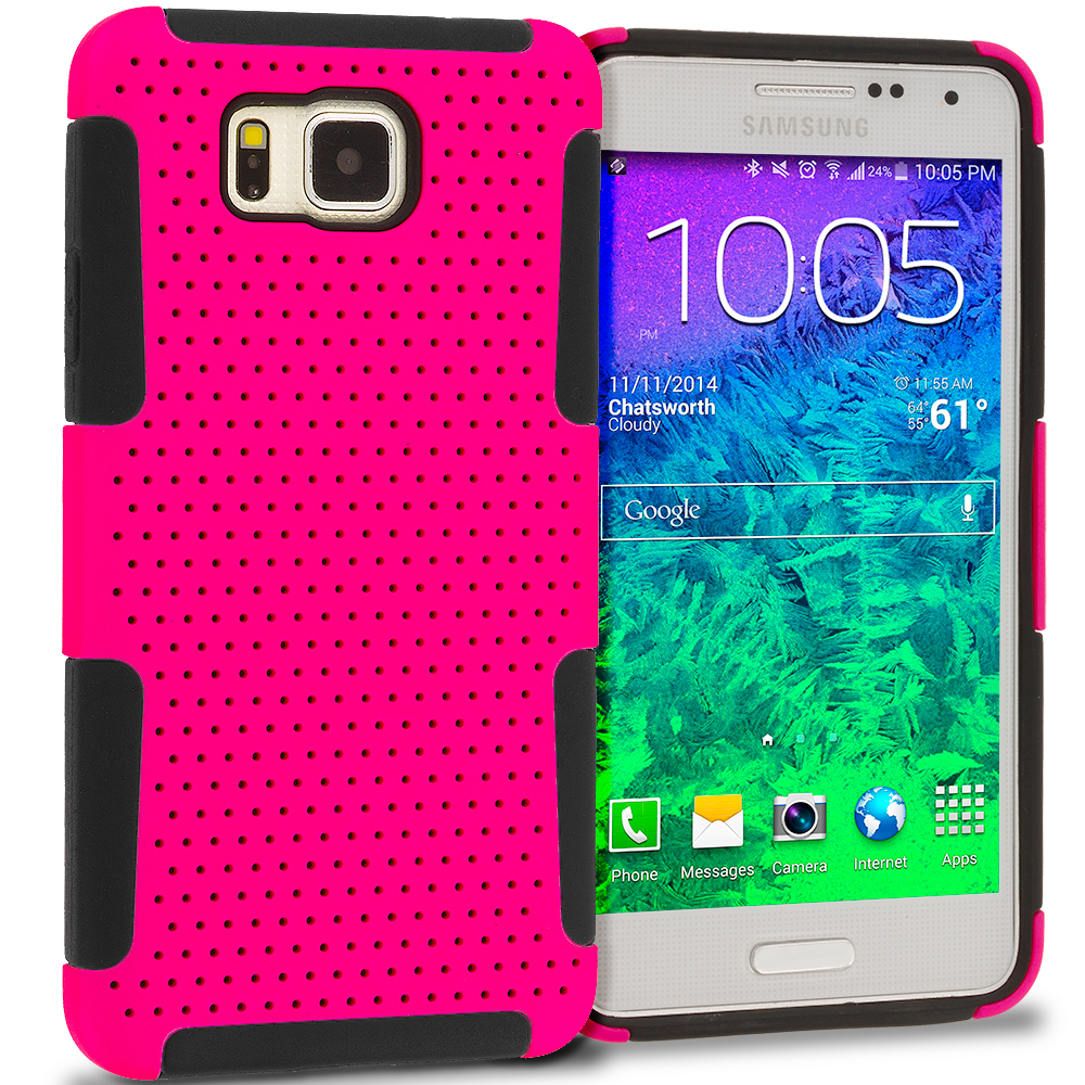 Samsung Galaxy Alpha G850 Black / Hot Pink Hybrid Mesh Hard/Soft Case Cover