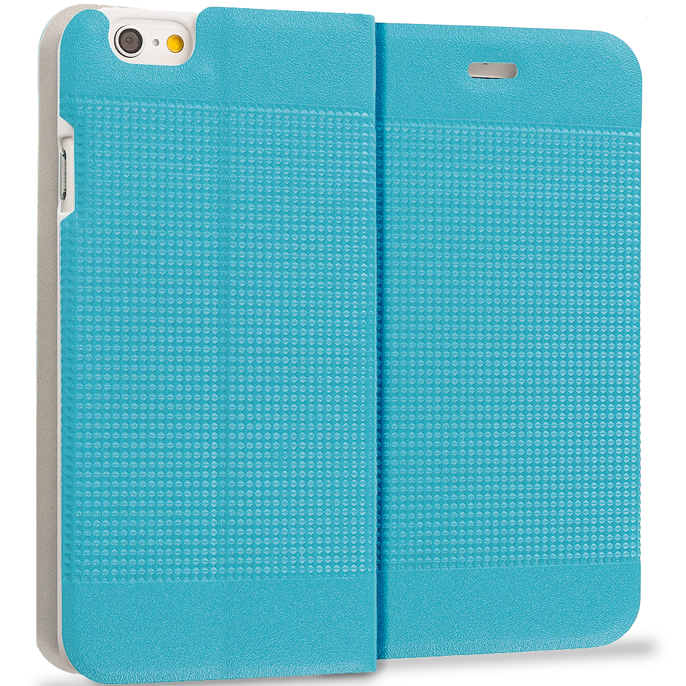 Apple iPhone 6 Plus 6S Plus (5.5) Baby Blue Slim Wallet Flip Design Case Cover