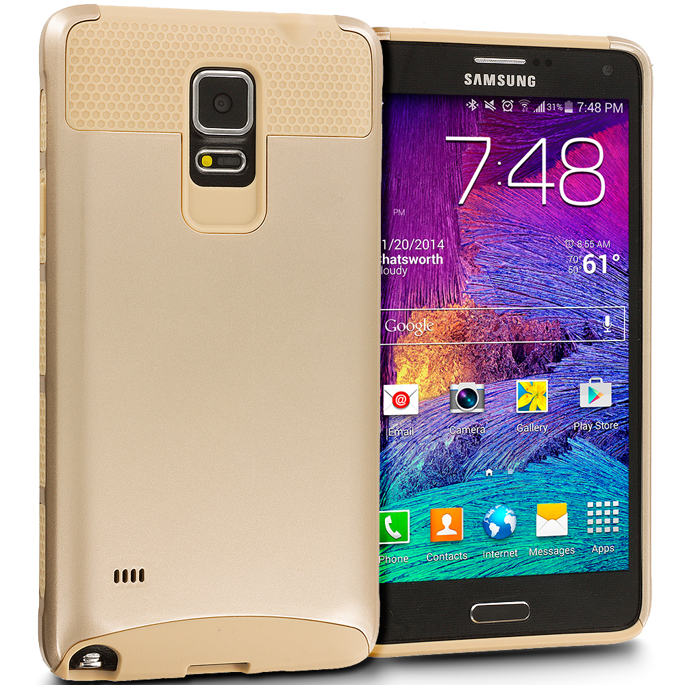 Samsung Galaxy Note 4 Gold / Gold Hybrid Hard TPU Honeycomb Rugged Case Cover