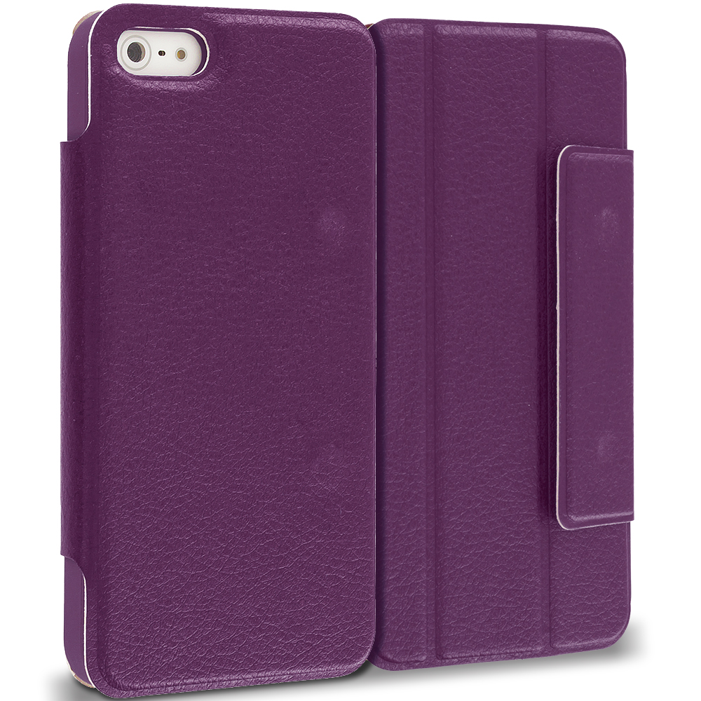 Apple iPhone 5/5S/SE Combo Pack : Purple Tri-Fold Leather Wallet Case Cover Pouch : Color Purple