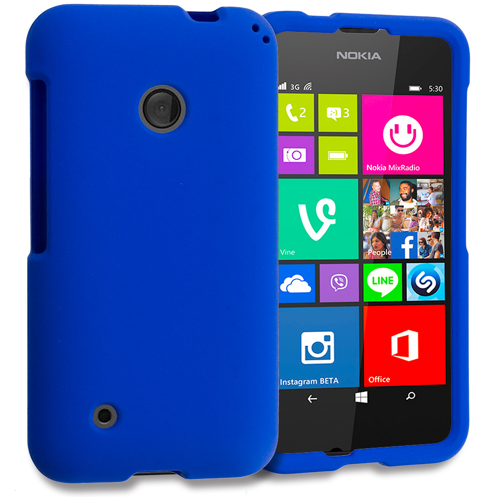 Nokia Lumia 530 Blue Hard Rubberized Case Cover