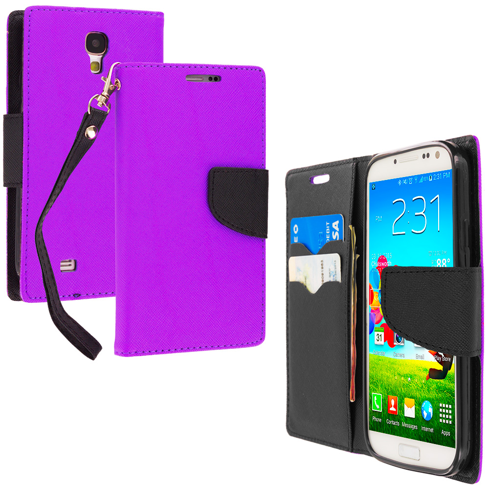 Samsung Galaxy S4 Purple / Black Leather Flip Wallet Pouch TPU Case Cover with ID Card Slots