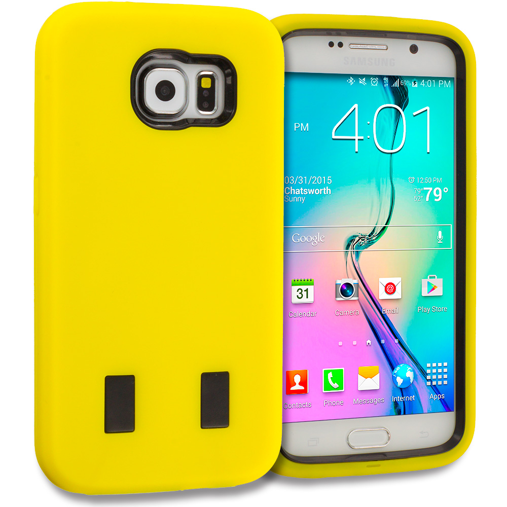 Samsung Galaxy S6 Yellow / Black Hybrid Deluxe Hard/Soft Case Cover