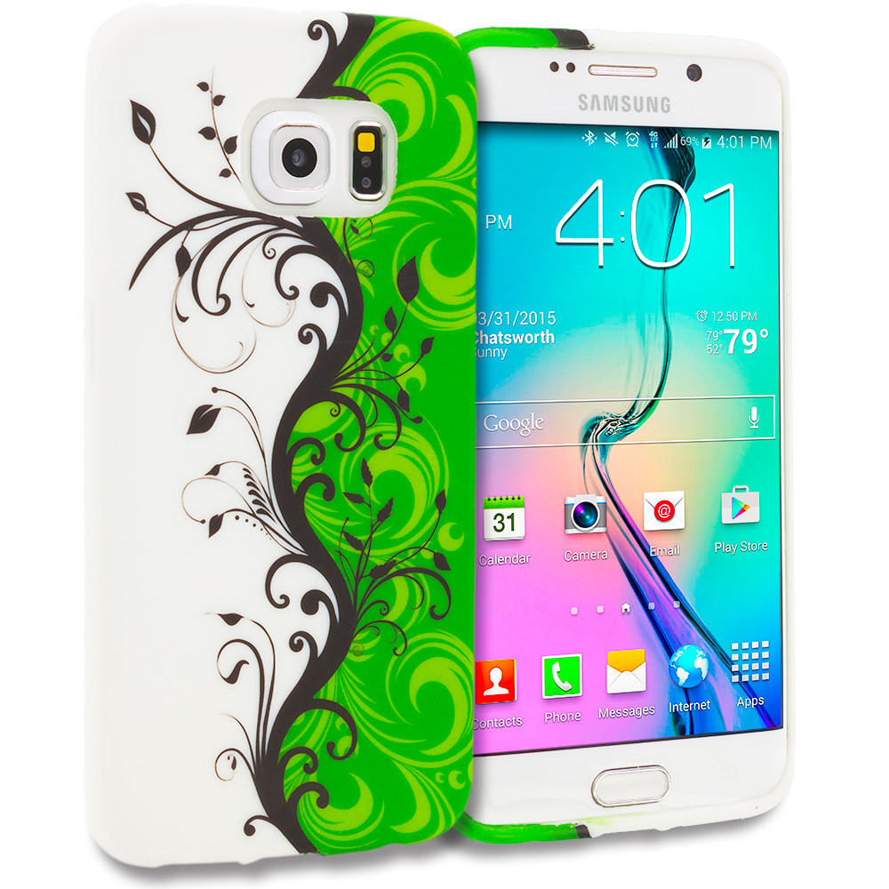 Samsung Galaxy S6 Edge Green / White Swirl TPU Design Soft Rubber Case Cover