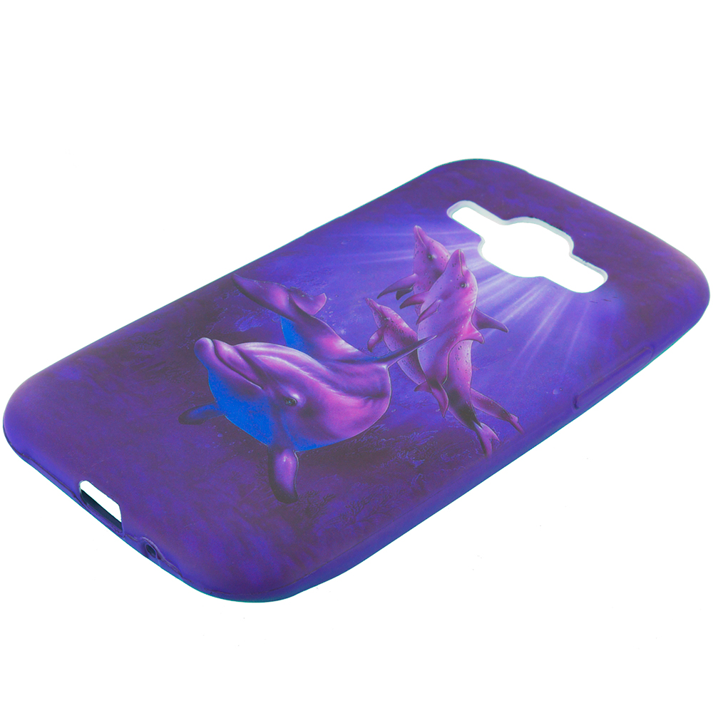 Samsung Galaxy J1 Purple Dolphin TPU Design Soft Rubber Case Cover