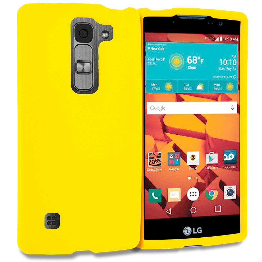 LG Volt 2 LS751 Yellow Hard Rubberized Case Cover