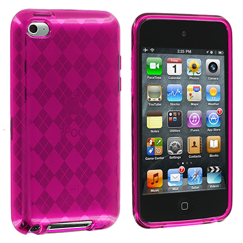 Apple iPod Touch 4th Generation Hot Pink Checkered TPU Rubber Skin Case Cover