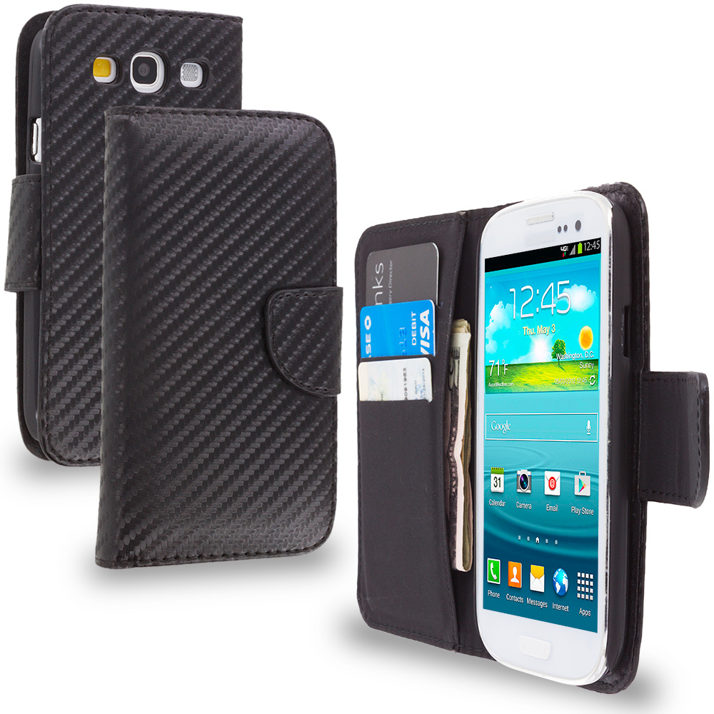 Samsung Galaxy S3 Wallet Carbon Fiber Leather Wallet Pouch Case Cover with Slots