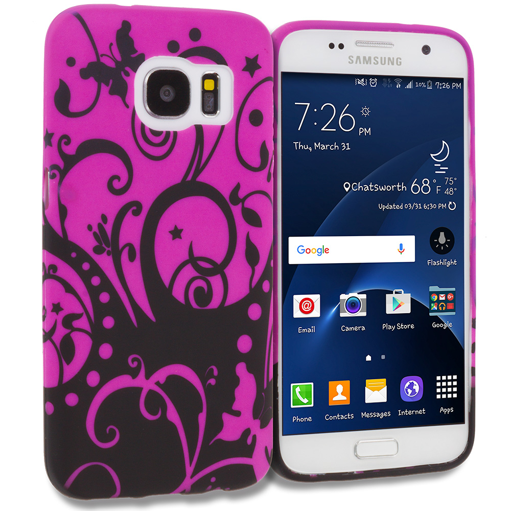 Samsung Galaxy S7 Combo Pack : Black Purple Swirl TPU Design Soft Rubber Case Cover : Color Black Purple Swirl