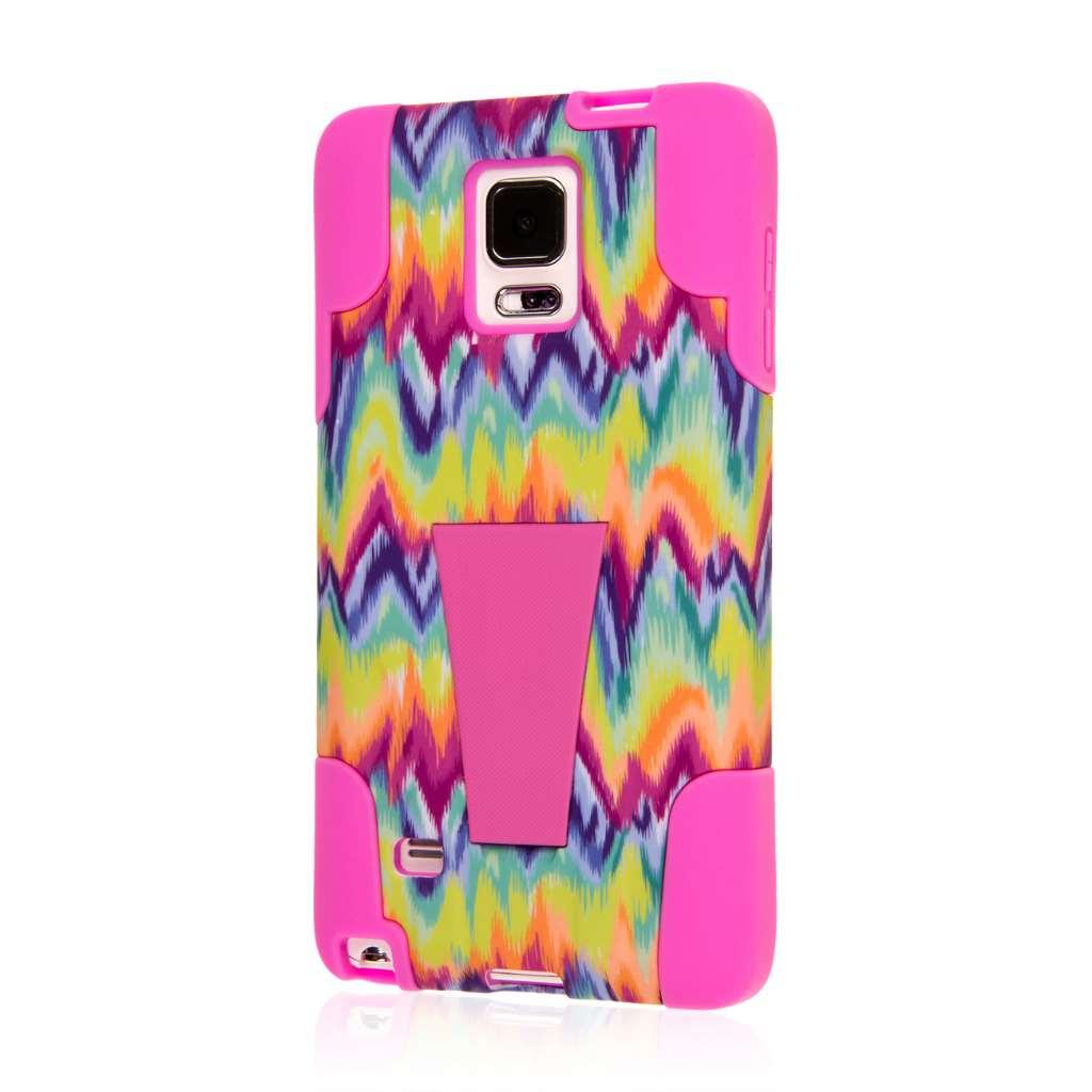 Samsung Galaxy Note 4 - Pink Tie Dye Chevron MPERO IMPACT X - Kickstand Case