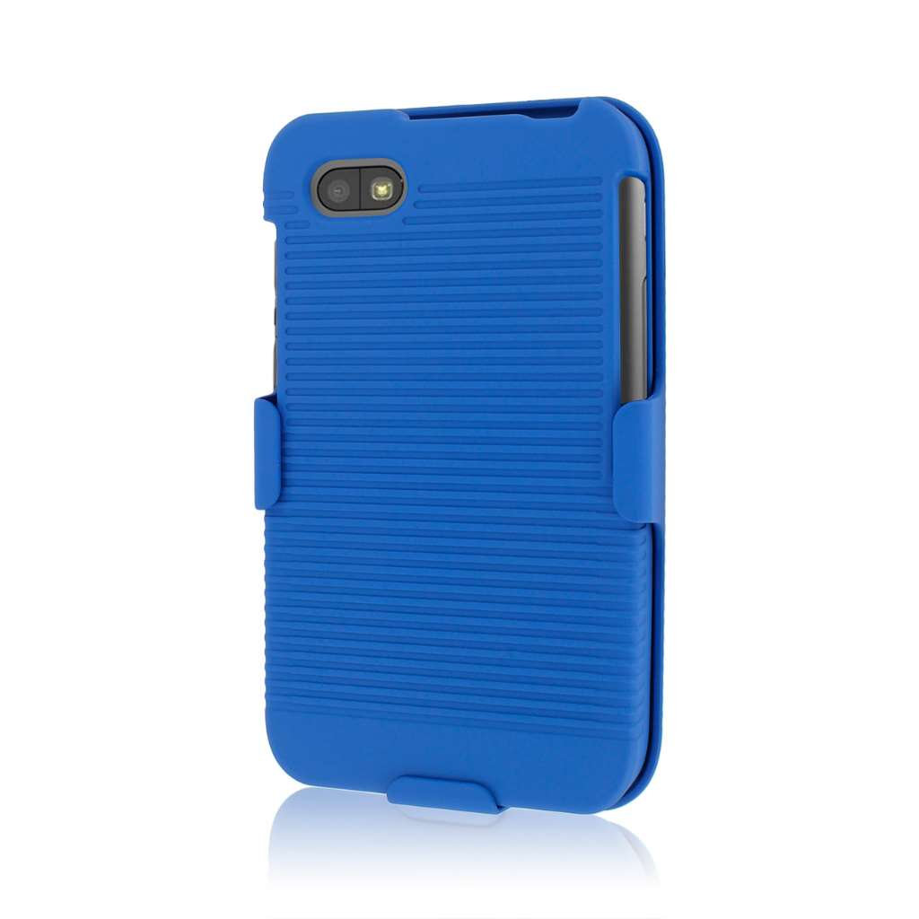 Blackberry Q5 MPERO 3 in 1 Tough blue Kickstand Case Cover
