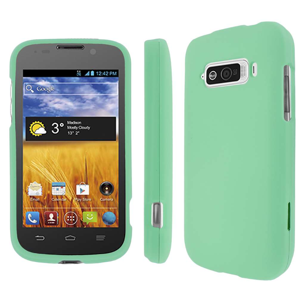 ZTE Imperial MPERO Full Protection Hard Rubberized Mint Case Cover