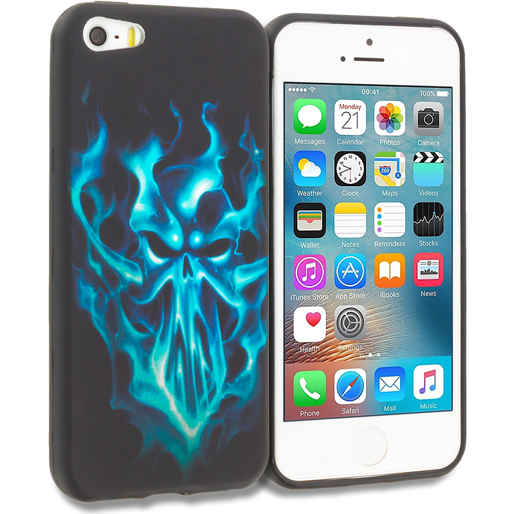 Apple iPhone 5/5S/SE Blue Skull Face TPU Design Soft Rubber Case Cover