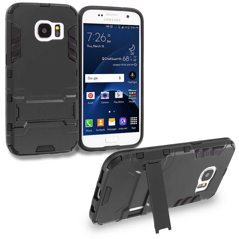 Samsung Galaxy S7 Combo Pack : Black Hybrid Transformer Armor Slim Shockproof Case Cover Kickstand : Color Black
