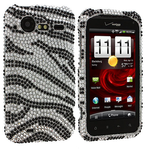 HTC Droid Incredible 2 6350 Silver n Black Zebra Bling Rhinestone Case Cover