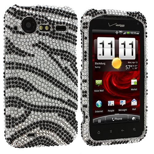 HTC Droid Incredible 2 6350 Silver n Black Zebra Bling Rhinestone Case Cover