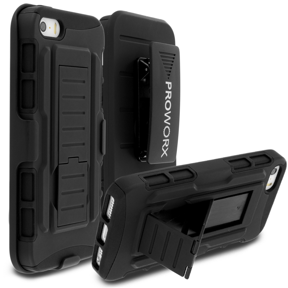 Apple iPhone 5/5S/SE Black ProWorx Heavy Duty Shock Absorption Armor Defender Holster Case Cover With Belt Clip