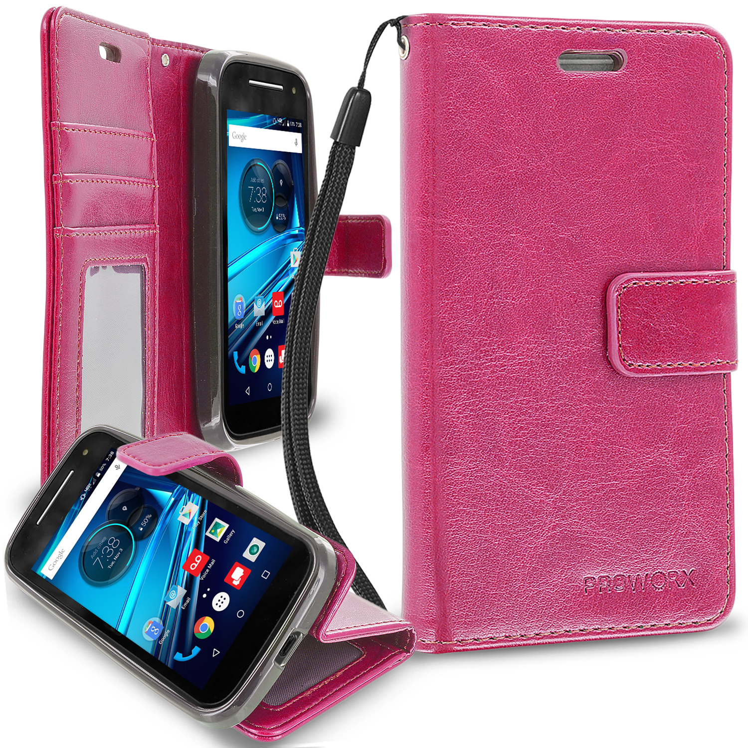 Motorola Moto E LTE 2nd Generation Hot Pink ProWorx Wallet Case Luxury PU Leather Case Cover With Card Slots & Stand