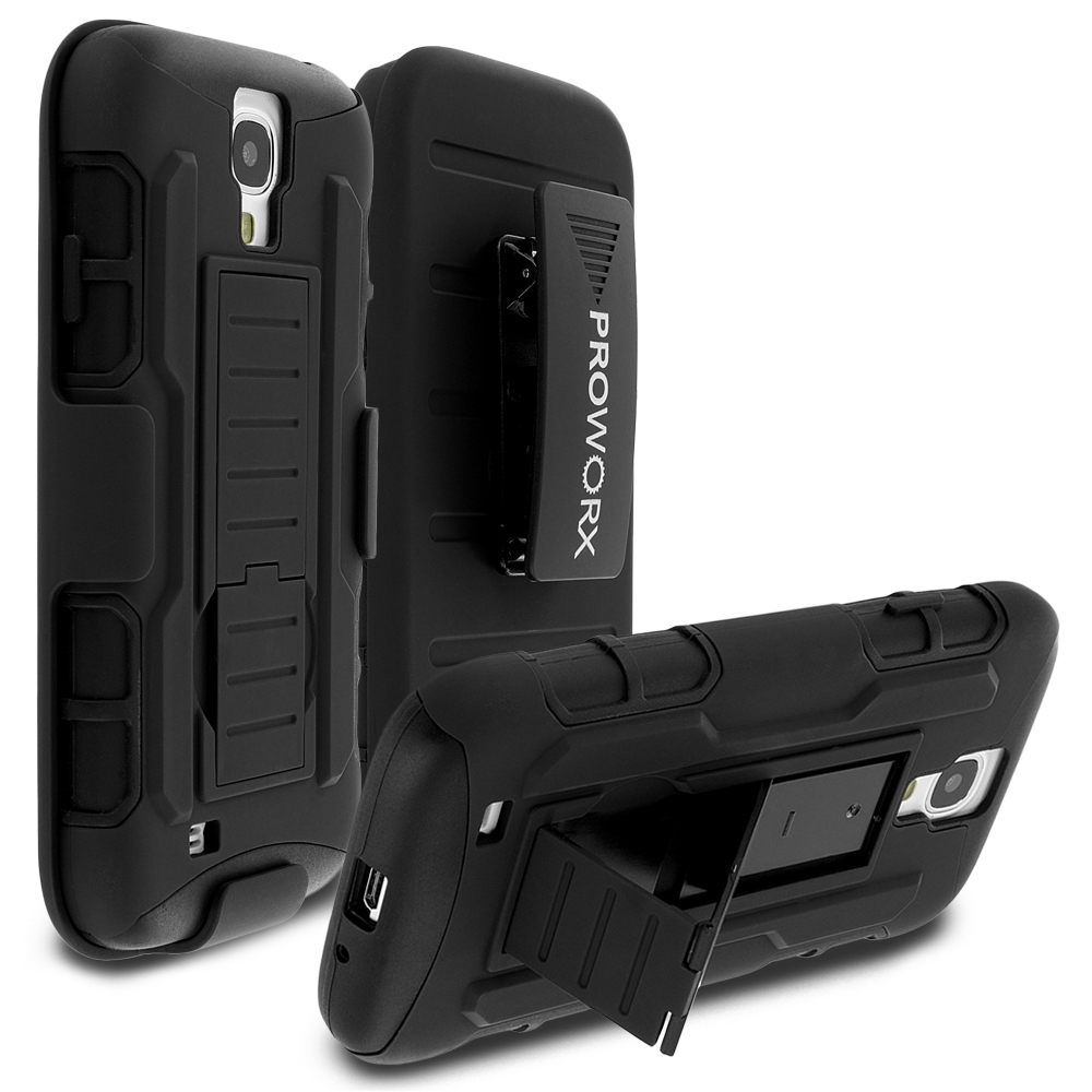 Samsung Galaxy S4 Black ProWorx Heavy Duty Shock Absorption Armor Defender Holster Case Cover With Belt Clip