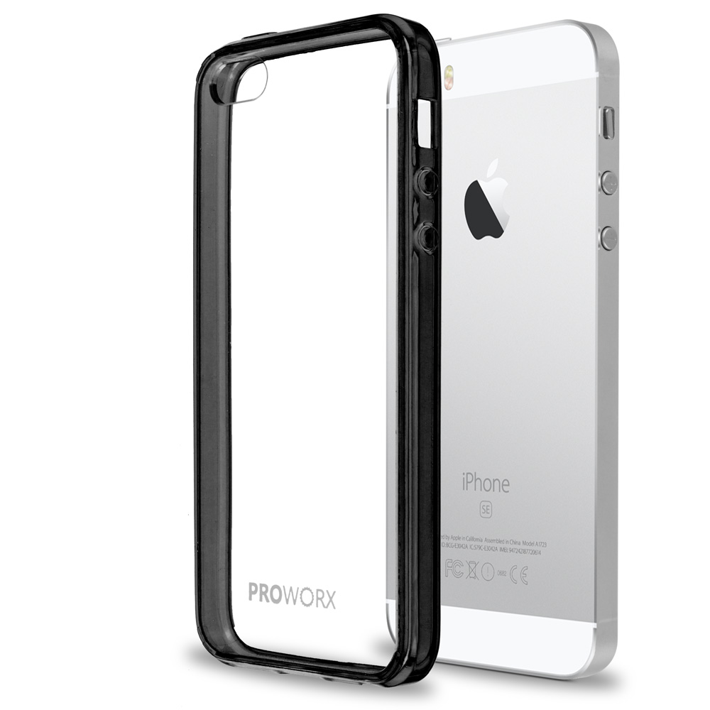 Apple iPhone 5/5S/SE Black ProWorx Shock Absorption Case Bumper TPU & Anti-Scratch Clear Back Cover