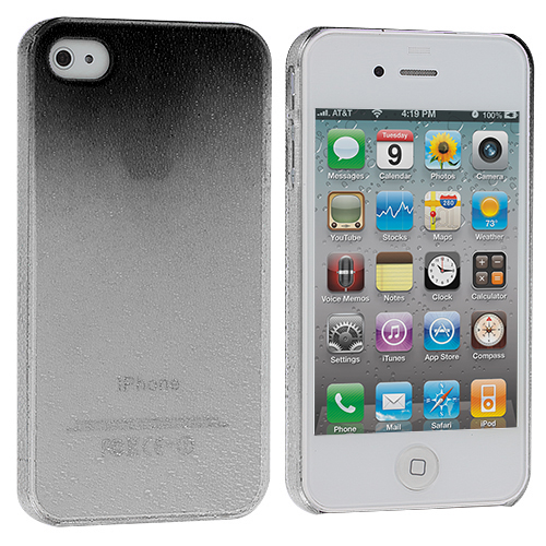 Apple iPhone 4 / 4S Black Crystal Raindrop Hard Case Cover