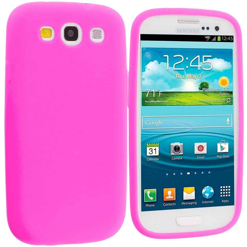 Samsung Galaxy S3 2 in 1 Combo Bundle Pack - Black Pink Silicone Soft Skin Case Cover : Color Hot Pink