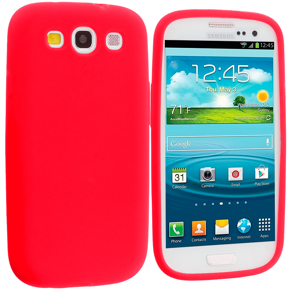 Samsung Galaxy S3 Red Silicone Soft Skin Case Cover