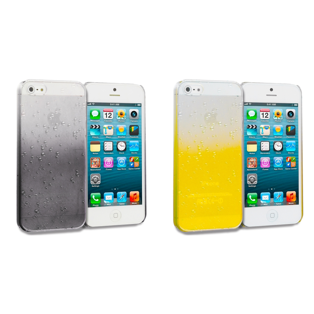 Apple iPhone 5/5S/SE Combo Pack : Black Crystal Raindrop Hard Case Cover