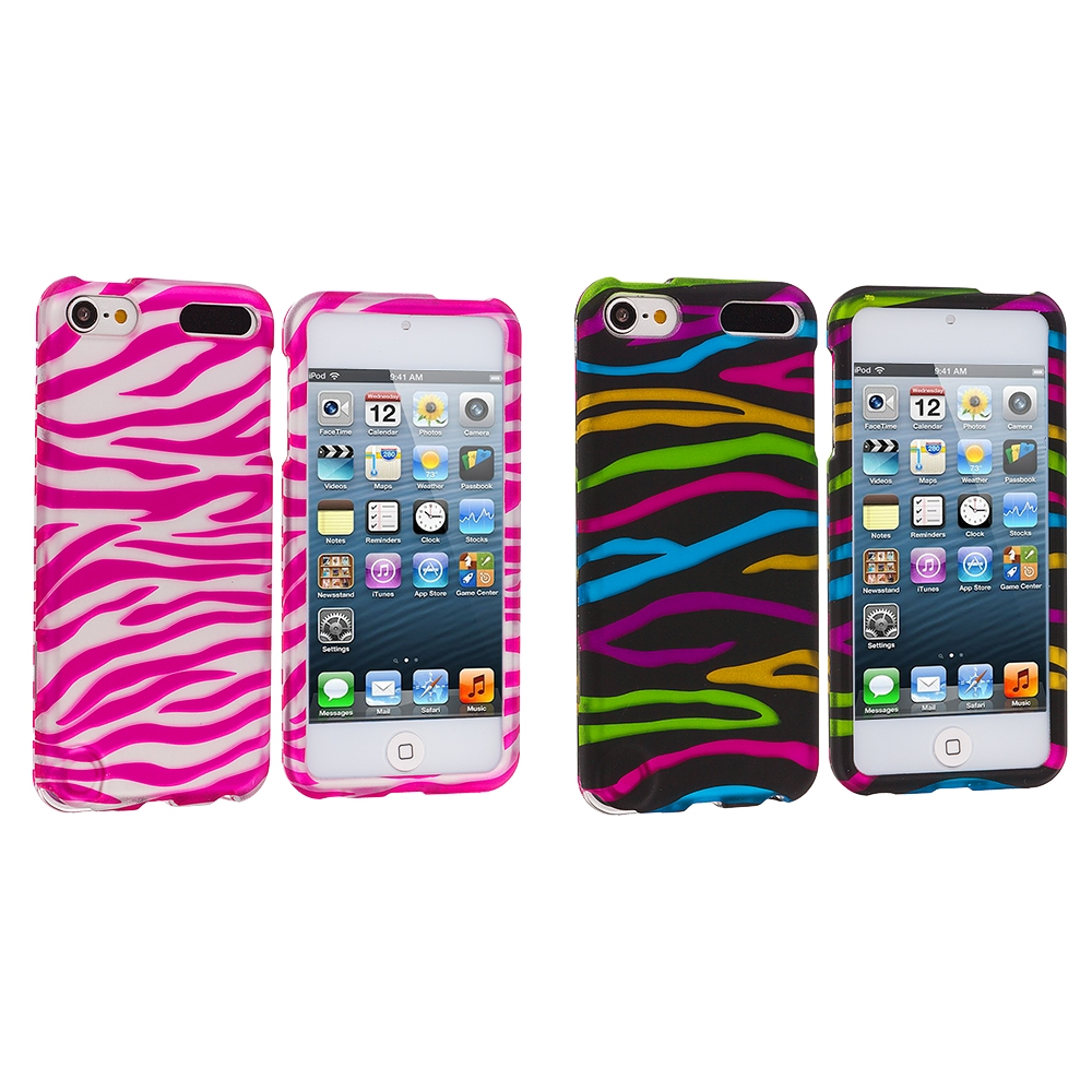 Apple iPod Touch 5th 6th Generation 2 in 1 Combo Bundle Pack - Pink / White Zebra Hard Rubberized Design Case Cover