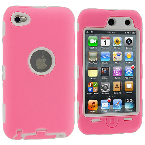 Apple iPod Touch 4th Generation Pink / White Deluxe Hybrid Deluxe Hard/Soft Case Cover